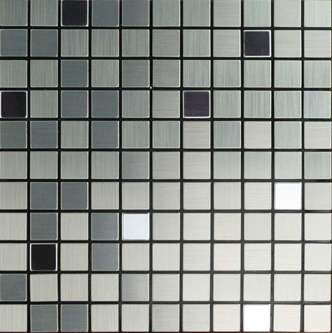 Metallic Mosaic Tile Grey Square Brushed Aluminum Panel