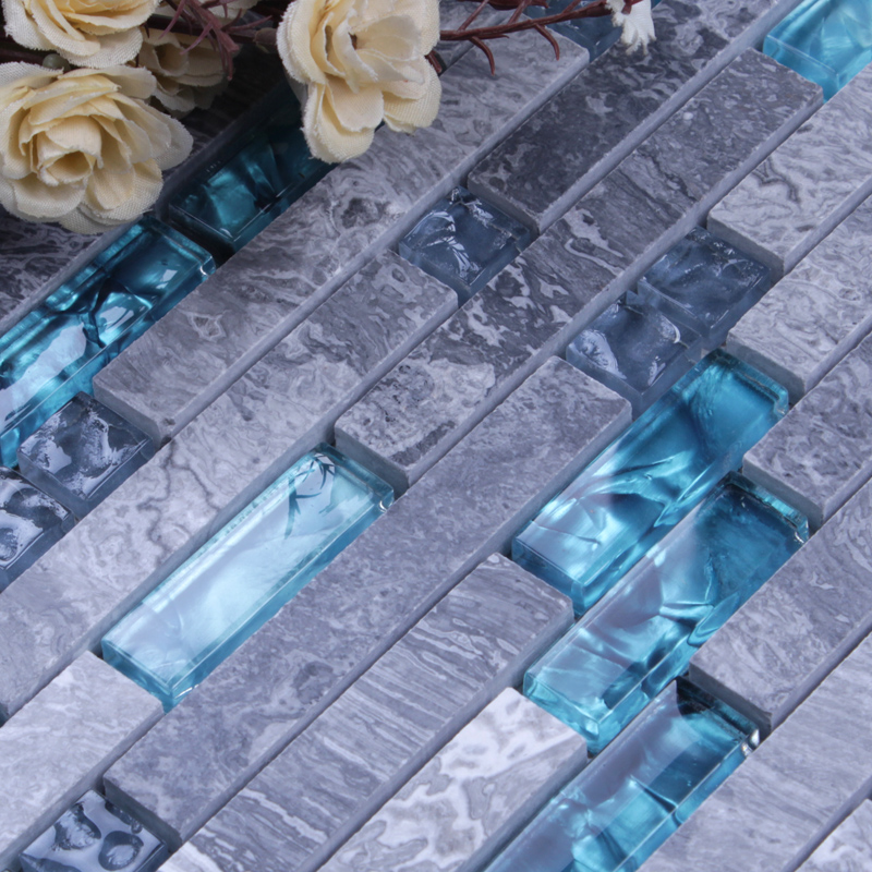 grey marble blue glass mosaic tile wall stickers - n008