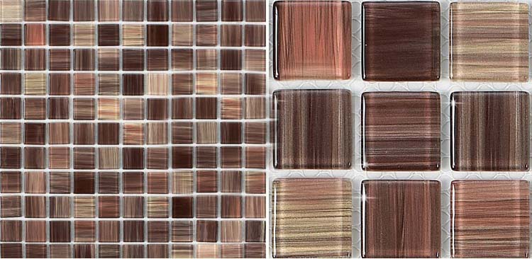 hand painted glass mosaic tile - b128
