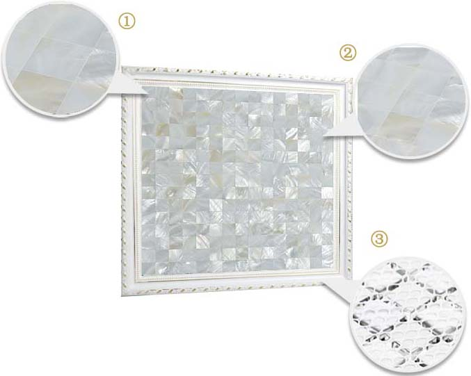 illustrations of features of mother of pearl tile mirror wall backsplash - st058