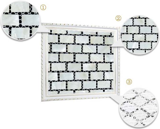 illustrations of features of mother of pearl tile polishing smooth mesh shell tiles - st054