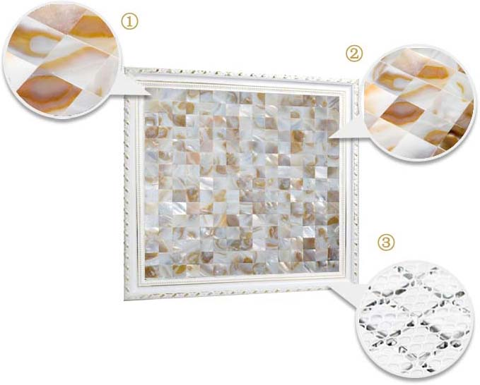 illustrations of features of mother of pearl tile - st070