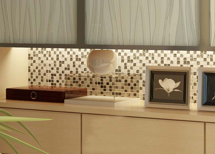 Crystal mosaic tile kitchen backsplash brushed stainless steel with base crackle glass mosaic - Mosaic kitchen ...