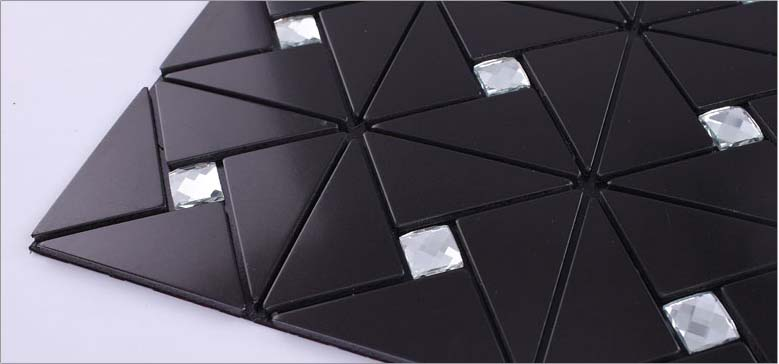 metal glass tile backsplash diamond crystal glass mosaic aluminum panel wall tiles - js4061