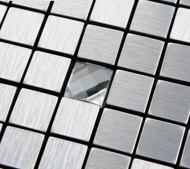 Adhsive Mosaic Tile Backsplash Square Brushed Metal Glass
