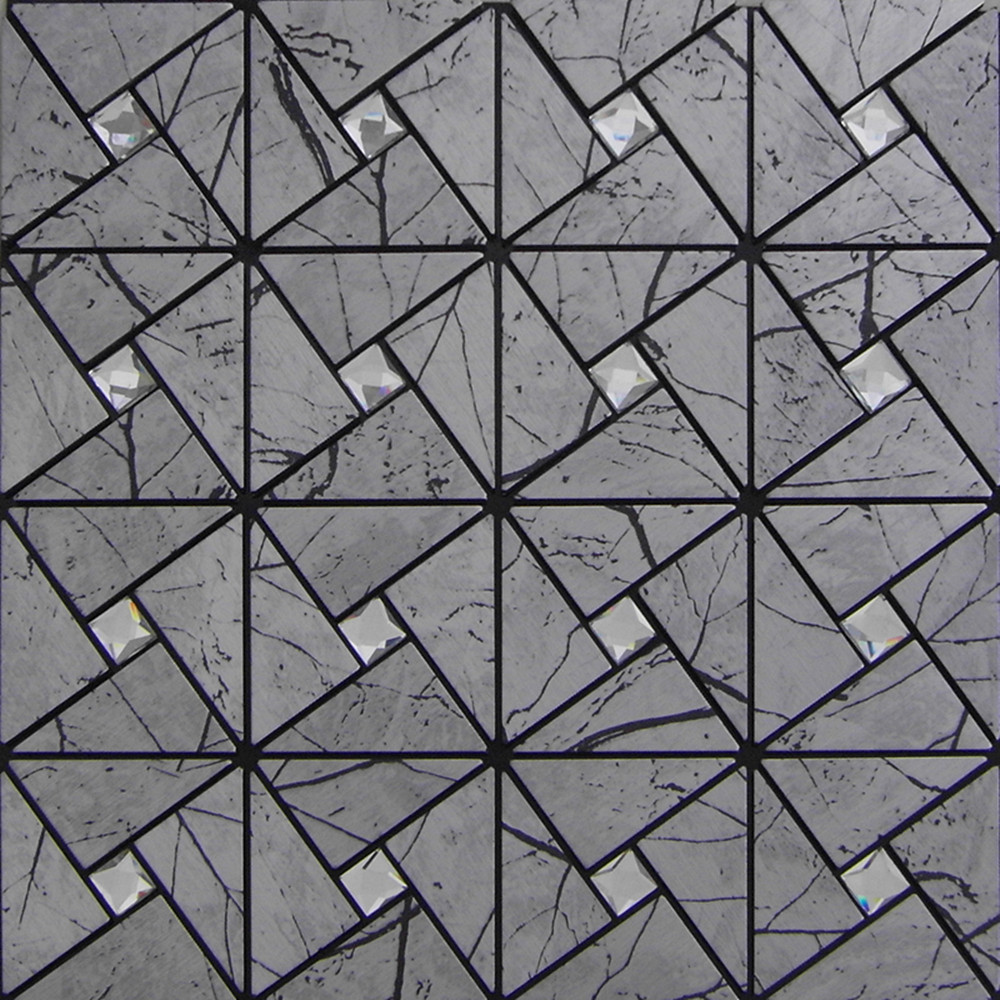 Peel And Stick Tile Pinwheel Patterns Gray Aluminum Metal