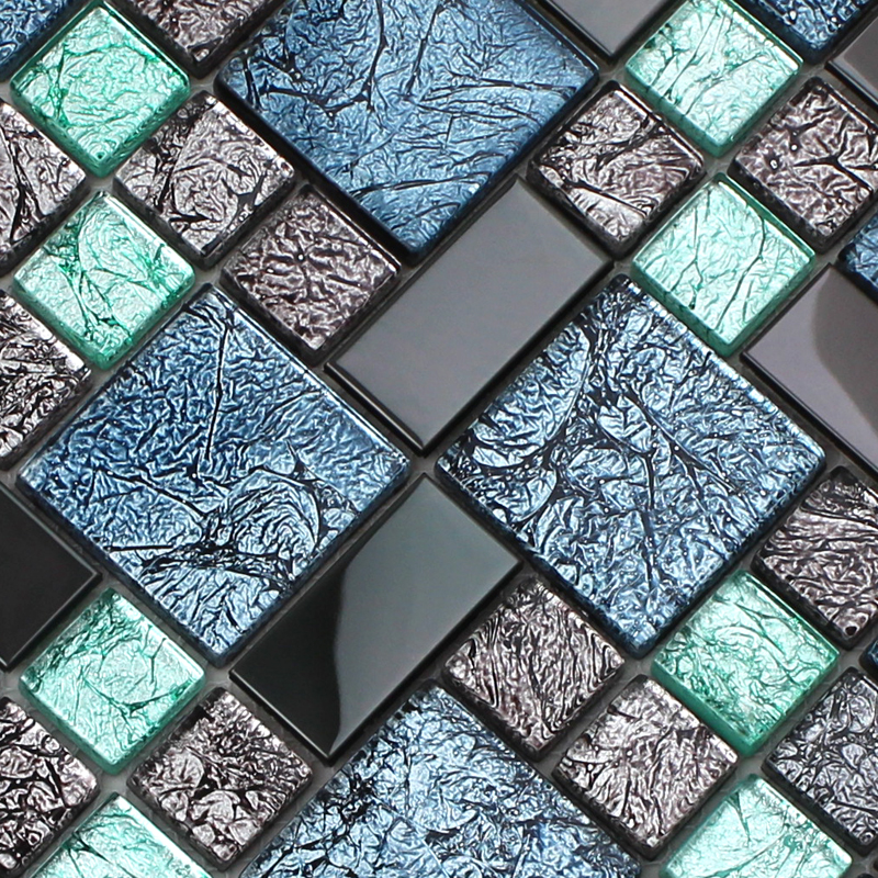 Crystal glass tile backsplash black stainless steel with Mosaic tile wall designs