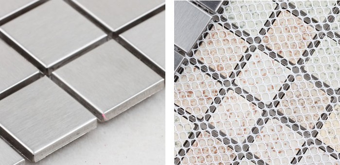 metallic mosaic tile details brushed aluminum 304 stainless steel - HD-092