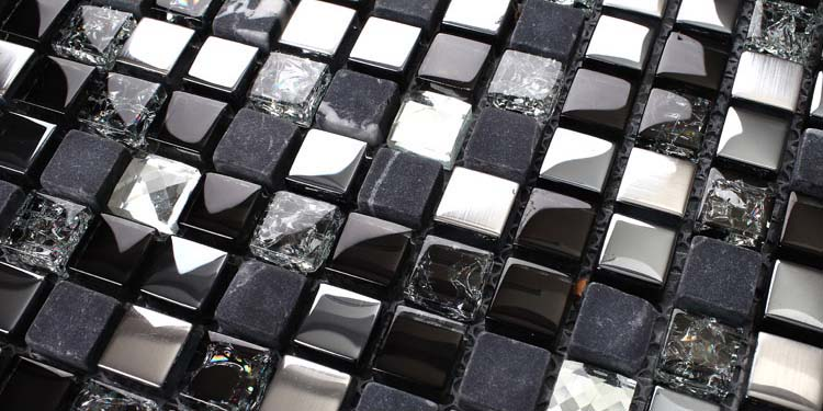 metallic mosaic tile details crack glass 304 stainless steel stone mosaic - ks66b