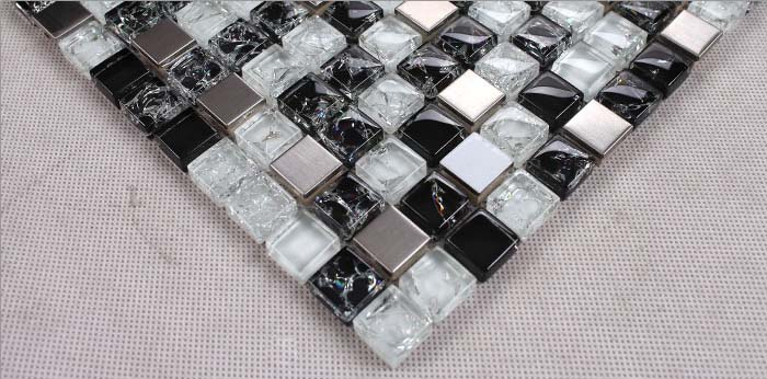 metallic mosaic tile details crack glass 304 stainless steel with porcelain base - ks33