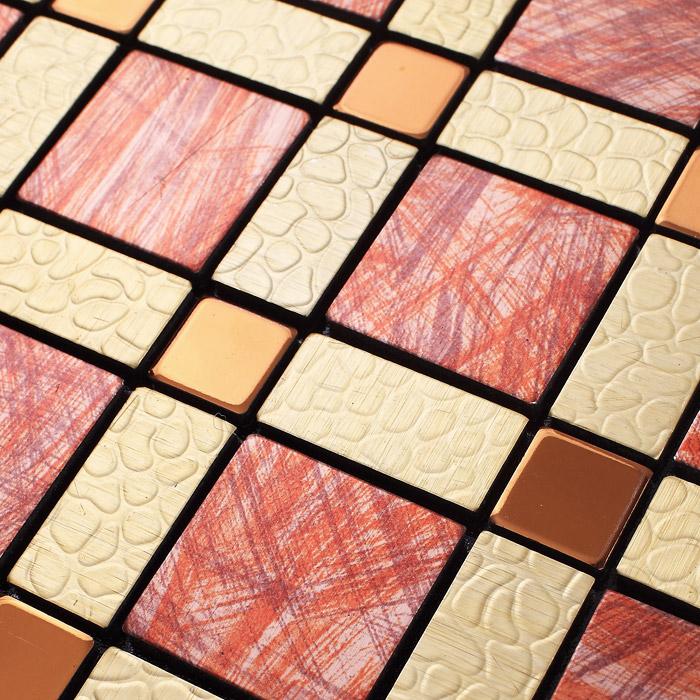 Wholesale Metal Tiles Backsplash Gold Bump Arts Aluminum Panel Decorative Wall Design Metallic Mosaic Tile