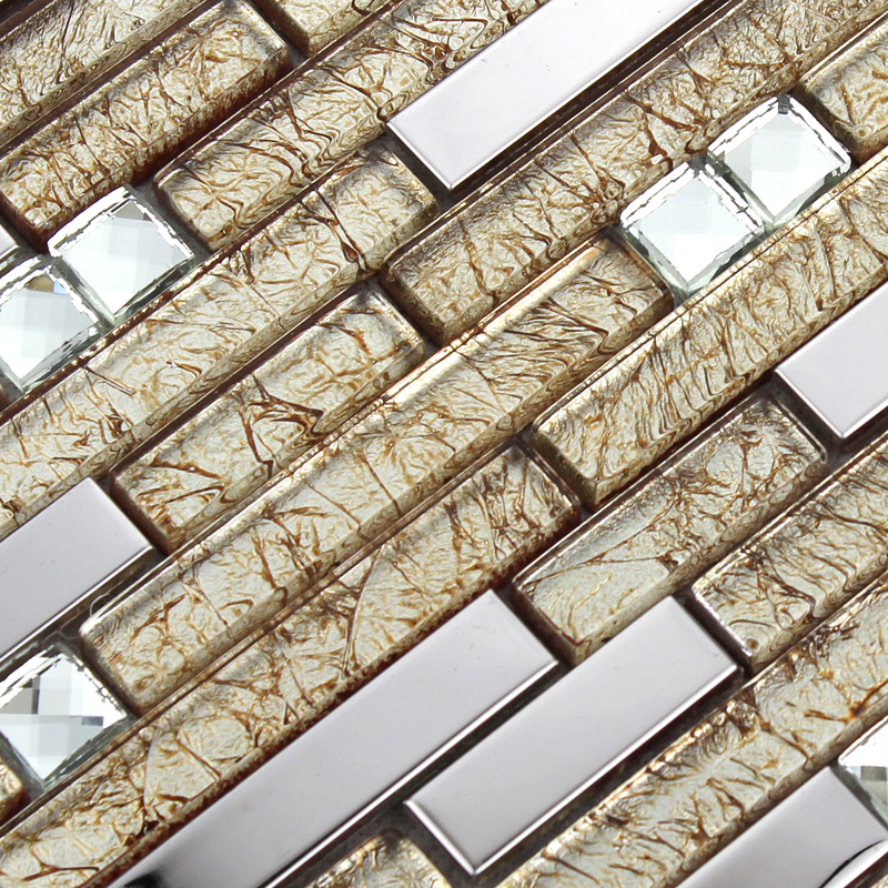 Silver Stainless Steel Wall Tiles Clear Crystal Diamond Glass Mosaics