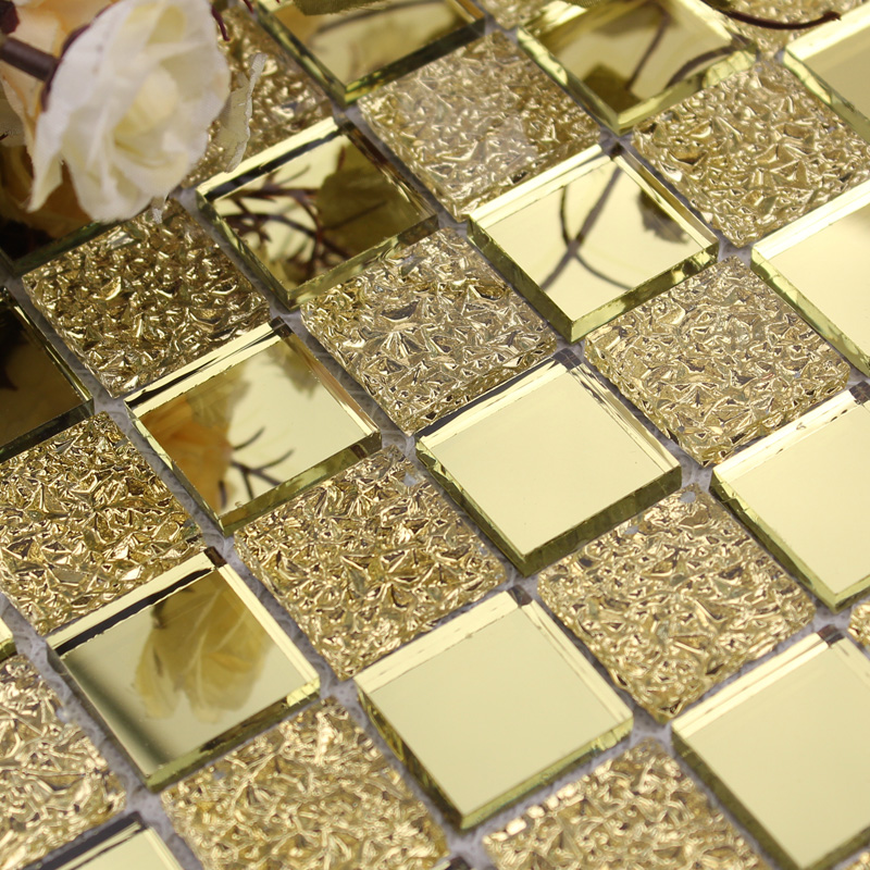Mirror Tile Backsplash Gold Crystal Glass Mosaic Wall Tiles Shower