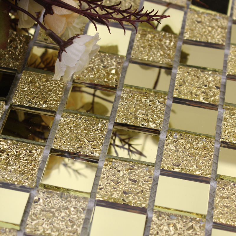 wholesale mirror tile backsplash gold vitreous glass mosaic wall