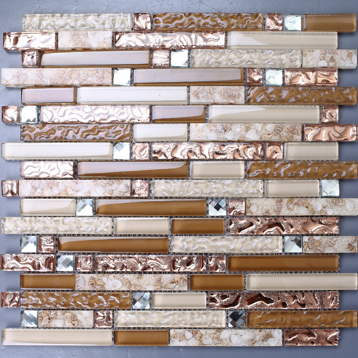 Brown Glass Mosaic And Resin Conch Tile Rose Gold Crystal Backsplash