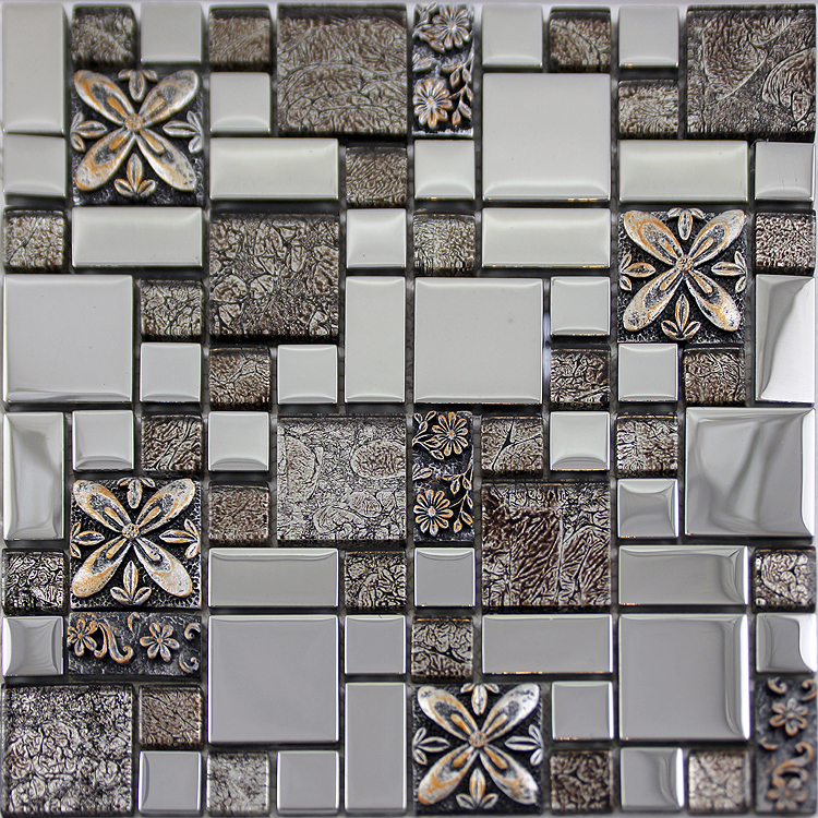 Glass mosaic tiles melted crack crystal backsplash tile Mosaic tile wall designs
