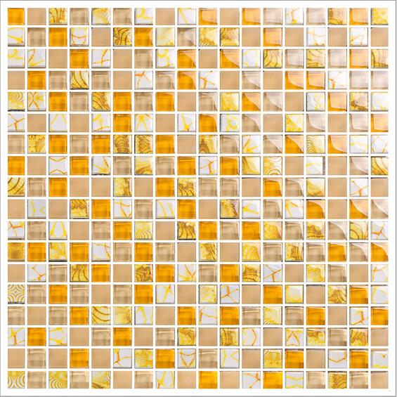 Sample Beige Cream Hand Painted Glass Pattern Mosaic Tile: Yellow Glass Mosaic Tile Forsted Glass Hand Painted Art