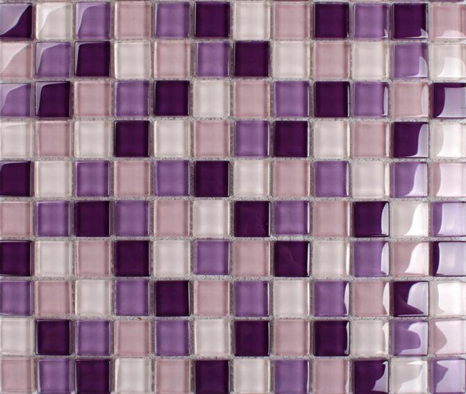 Purple Mosaic Tiles Crystal Glass Tile Bathroom Floor