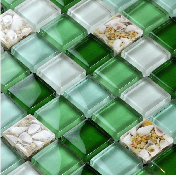 Glass Mosaic Tiles Green Crystal Backsplash Tile Bathroom