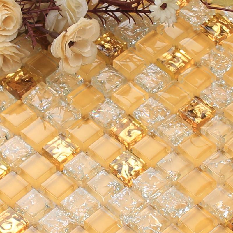 Gold Glass Mosaic Sheets Kitchen Blacksplash Crackle