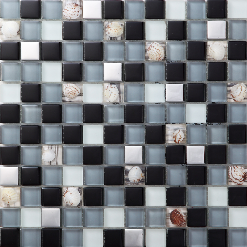 Silver metal coating glass mosaic tile frost glass resin with shell tile bathroom backsplash sblt123 for Glass mosaic tile backsplash bathroom
