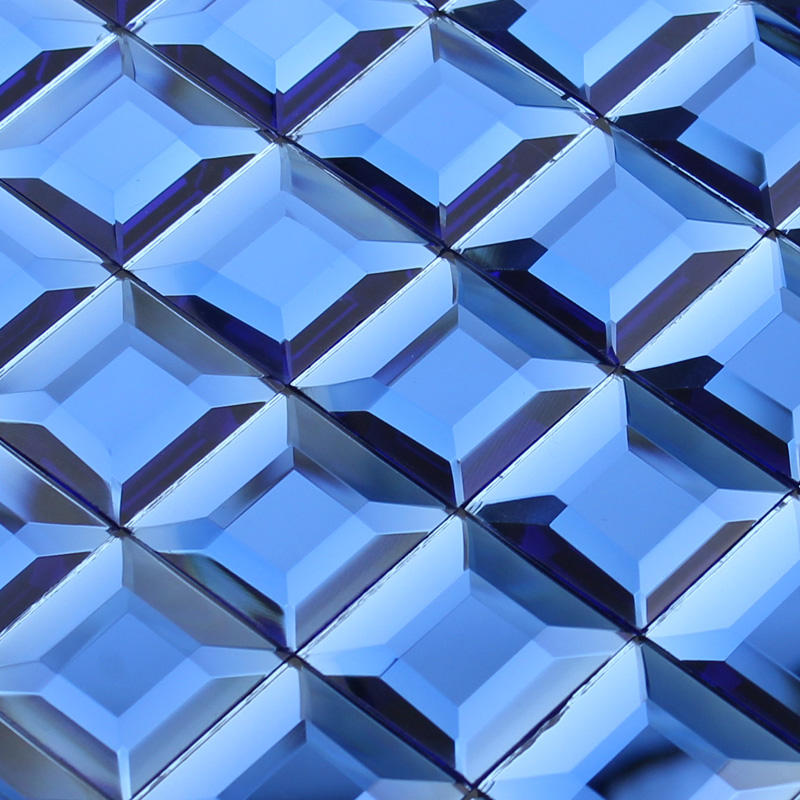 Crystal Mosaic Blue Glass Tile Backsplash Kitchen 3d