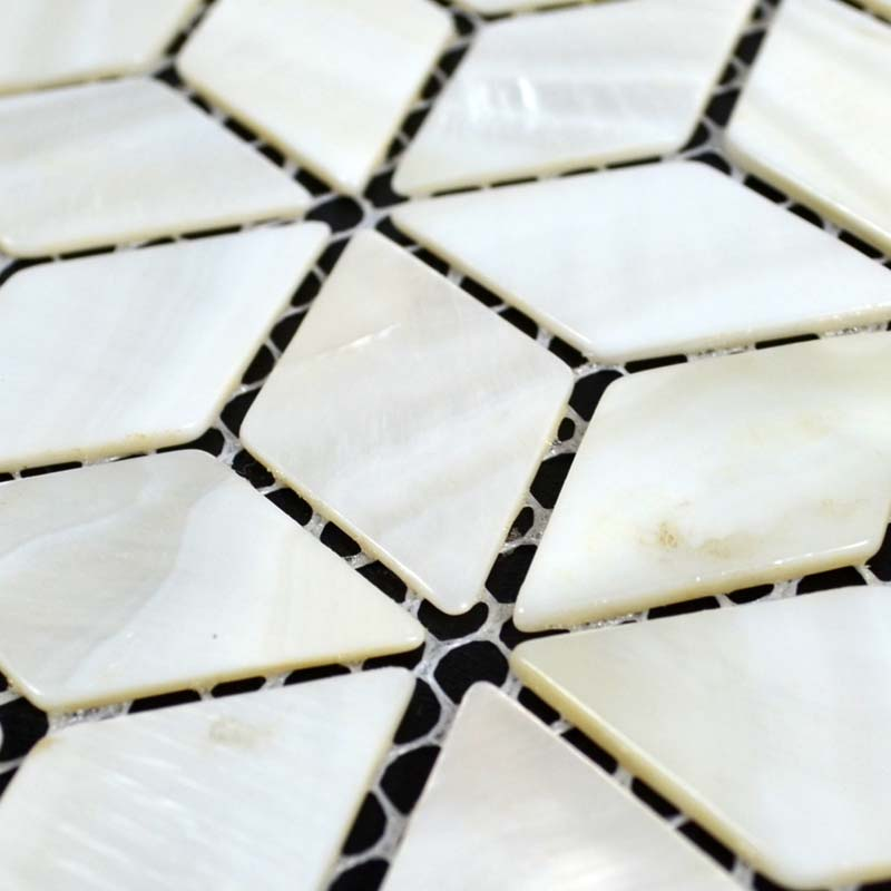 Wholesale Natural White Shell Tiles Diamond Mother of Pearl Mosaic Tile Bathroom Mirrored Wall ...