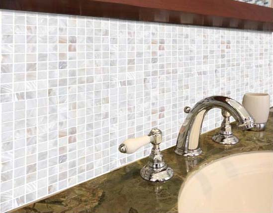 mother of pearl tile bathroom wall backsplash - st035