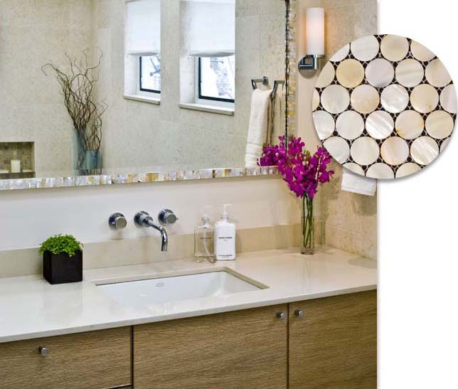 mother of pearl tile bathroom wall mirror tiles - st007