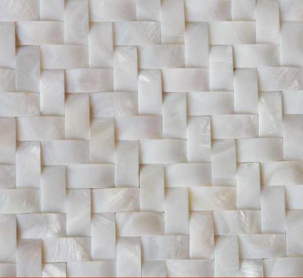 White Mother Of Pearl Arched Tile Backsplash Herringbone