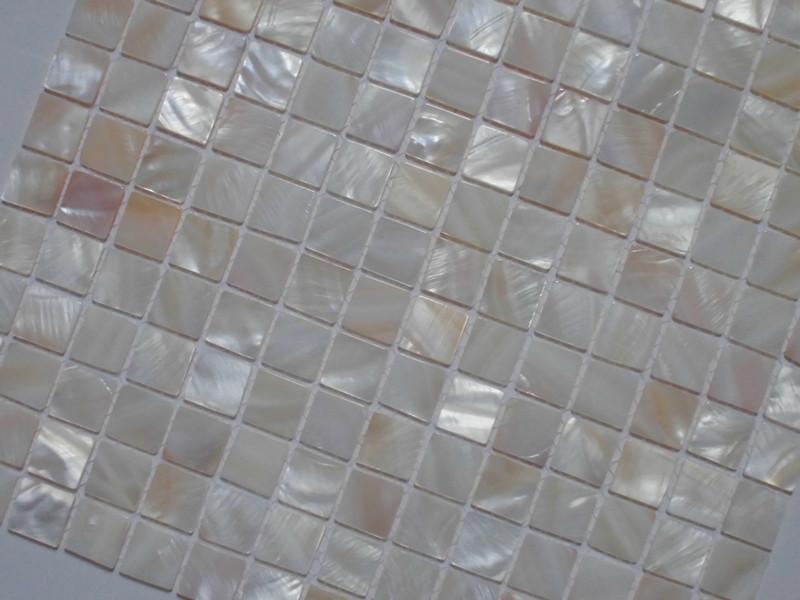 mother of pearl tile shower liner wall backsplash square bathroom