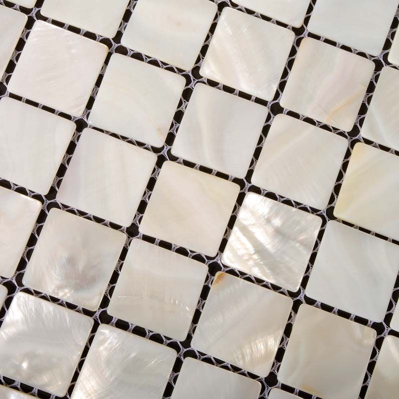 mother of pearl tile shower liner wall backsplash white square bathroom floor shell mosaic tiles