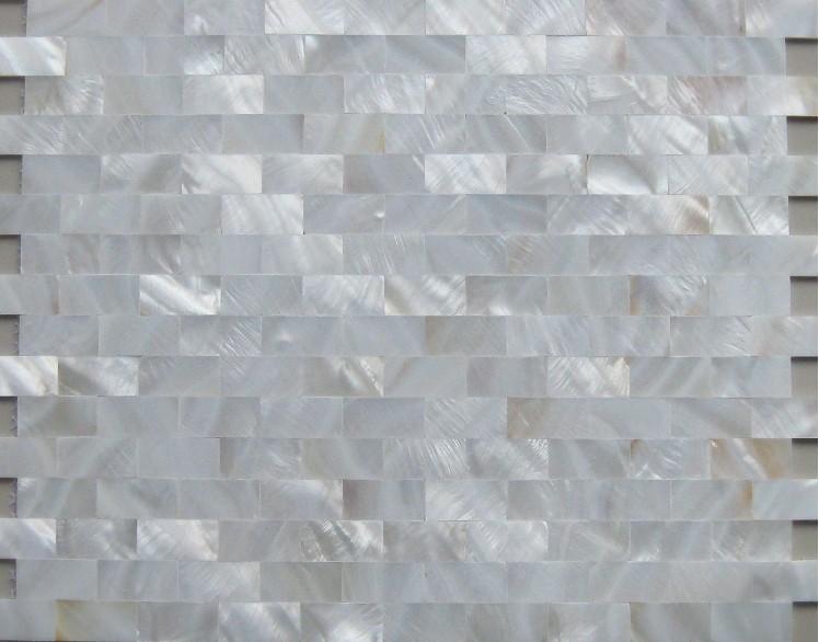 White Mother Of Pearl Tiles Backsplash Uniform Bricks
