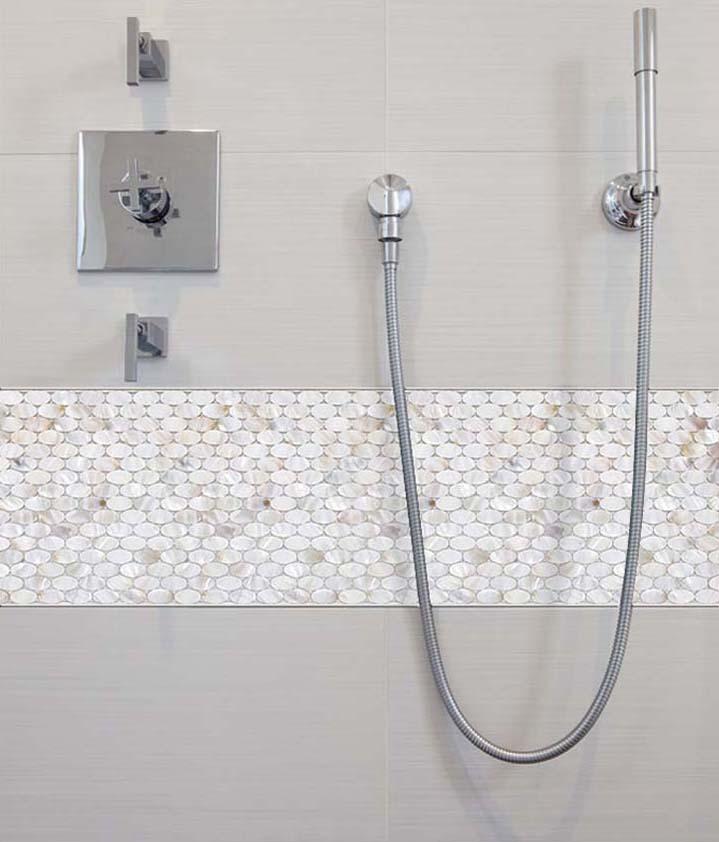 Mother Of Pearl Tile Mirror Backsplash Liner Wall