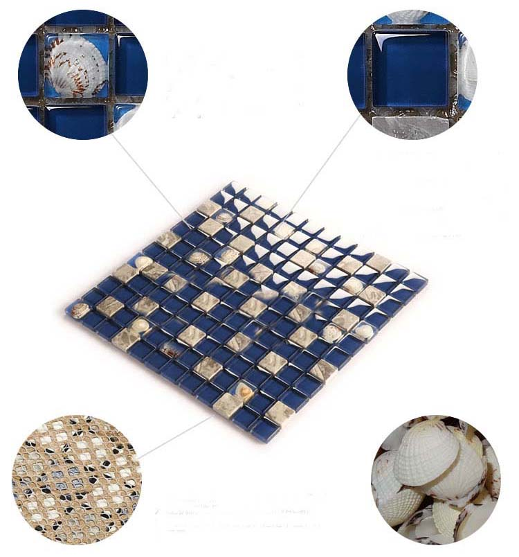 natural marble glass shell blend mosaic blue tile features - 616