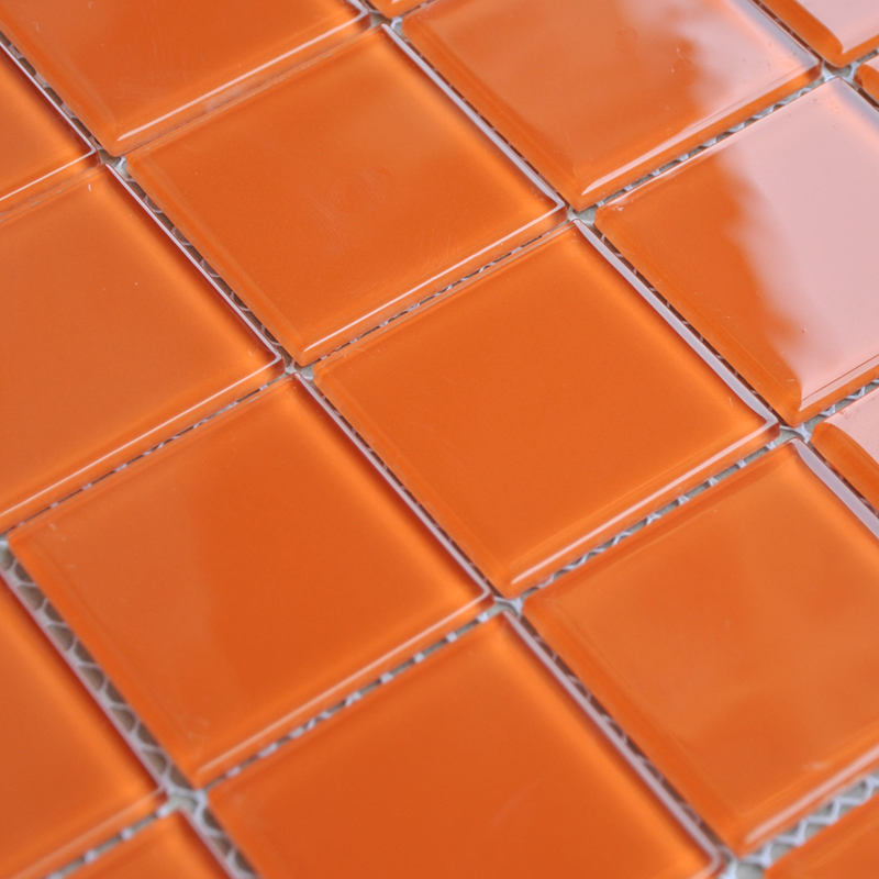 Wholesale Orange Crystal Glass Mosaic Tiles Kitchen Backsplash Design Bathroom Wall Floor Shower