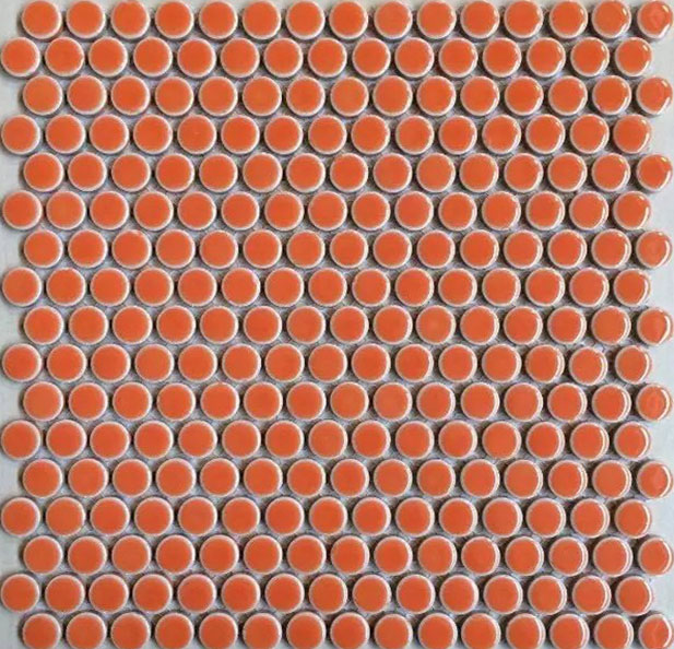 Penny Round Porcelain Orange Tile