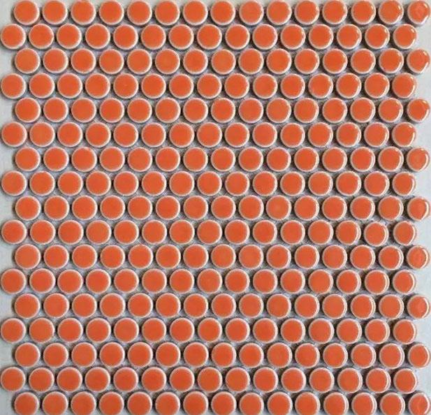 Penny Round Porcelain Orange Tile