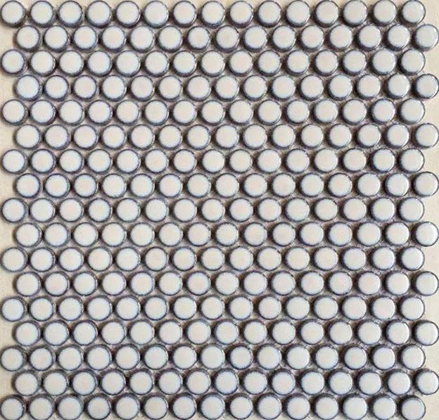 Penny Round Porcelain White Tile