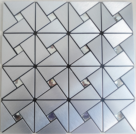 Peel And Stick Tile Pinwheel Patterns Silver Aluminum