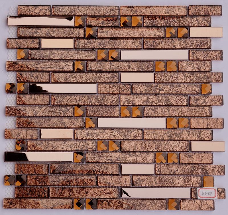 Metal And Glass Diamond Stainless Steel Backsplash Tiles