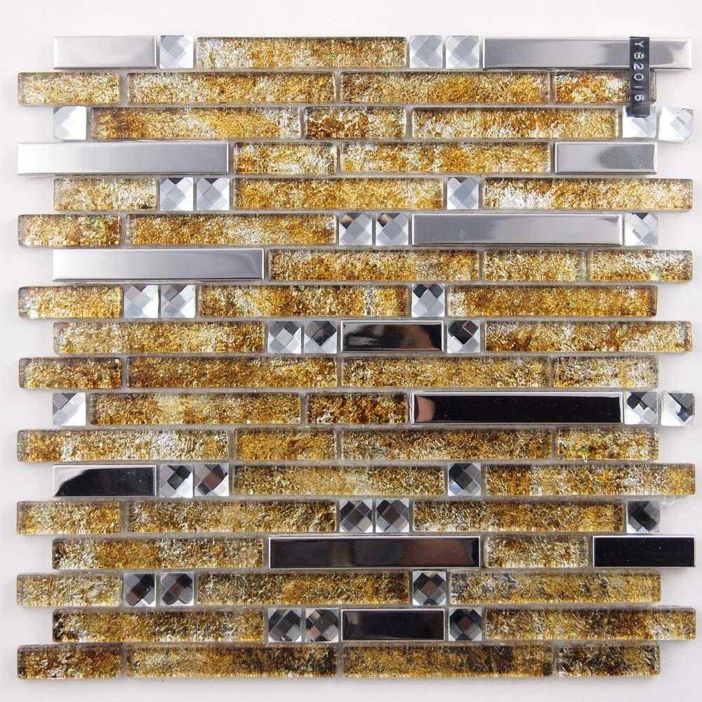 Metal And Glass Diamond Silver Stainless Steel Backsplash