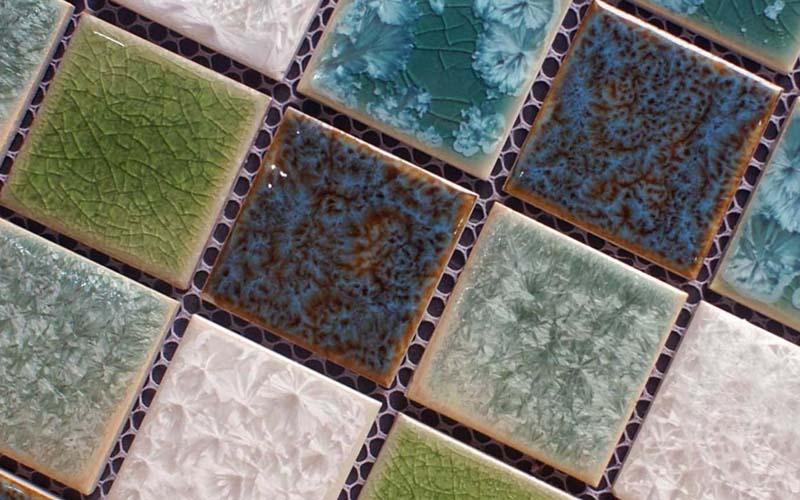 porcelain crackle glass mosaic floor tile - adt56