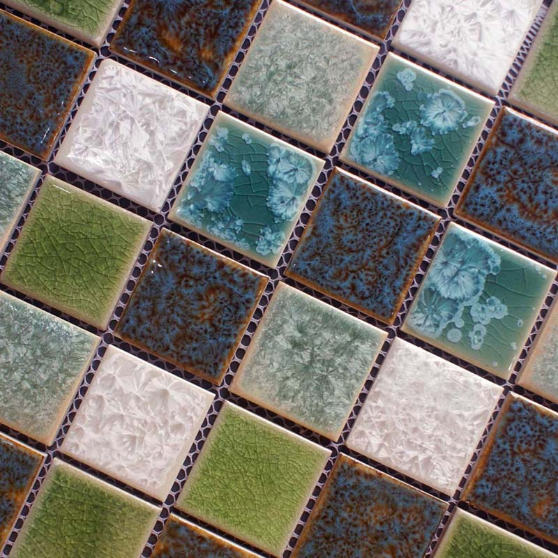 Sample Green Brown Crackle Glass Subway Mosaic Tile: Porcelain Crackle Glass Mosaic Tile Brick