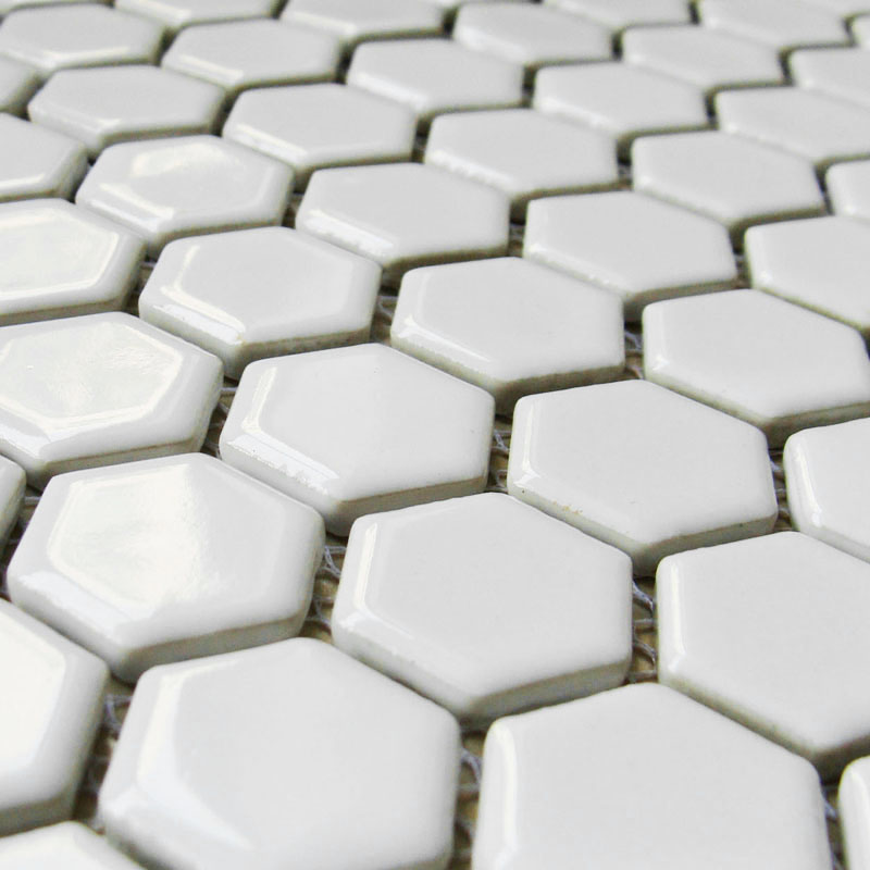 Hexagon Porcelain Floor Tiles White Shiny Mosaic Glazed
