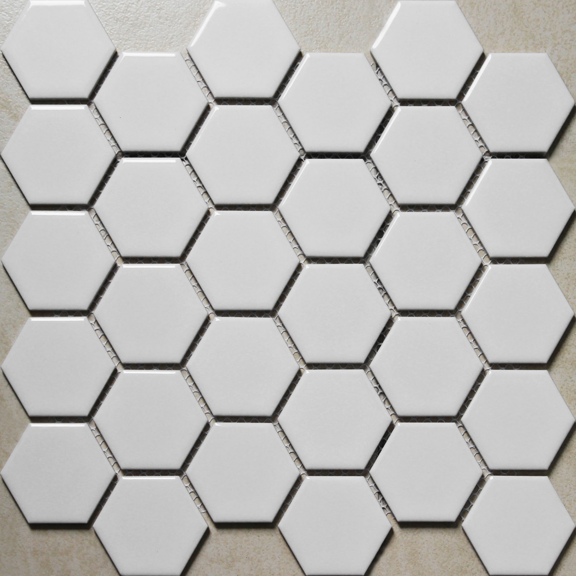 White Porcelain Mosaic Tile Sheets Large Hexagon Ceramic