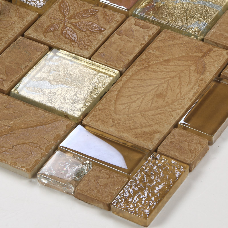 Wholesale porcelain glass tile wall backsplash tan crystal Mosaic tile wall designs
