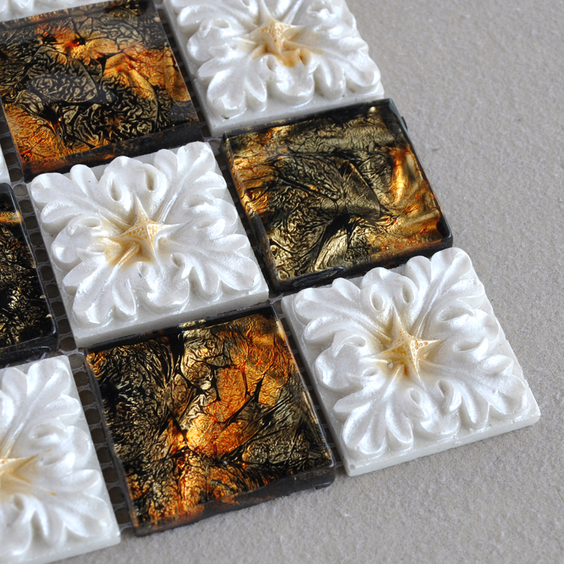 porcelain mosaic tile details crystal glass flower pattern tiles