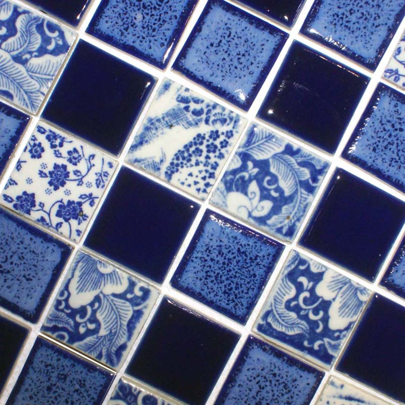 Porcelain Tile Shower Brick Backsplash Blue Square Mosaic Floor Tiling Pattern Bathroom Wall Sticker