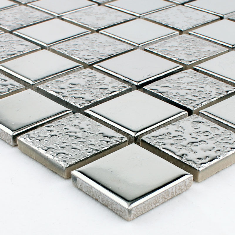 Wholesale porcelain mosaic grey square metal coating tile for Mirror tiles